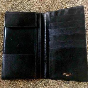 Bloomies Black Leather Wallet/ Travel Billfold